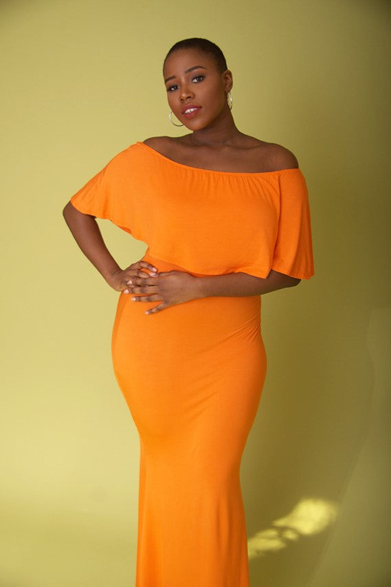 Orange Off the Shoulder Maxi