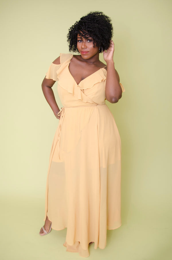 Yellow Ruffle Chiffon Maxi Dress