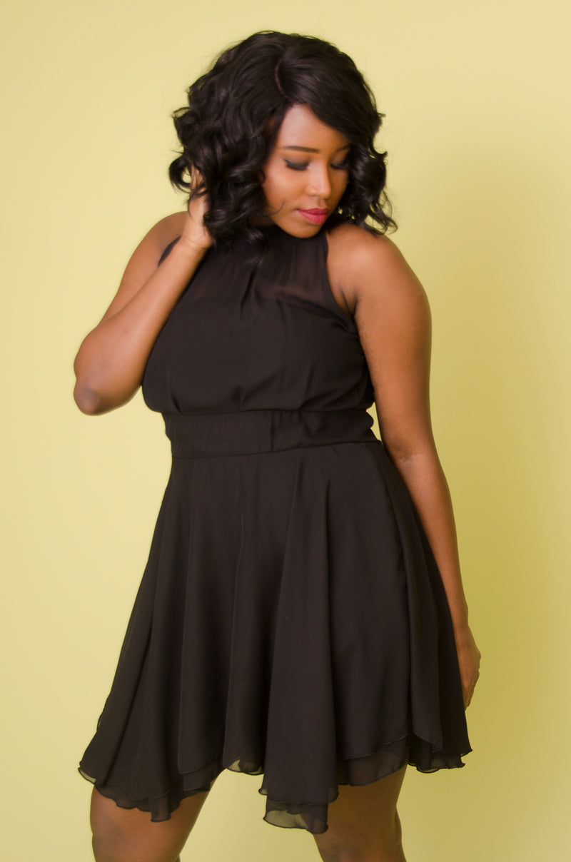 Black Chiffon Mini Dress with Double Layer Hem