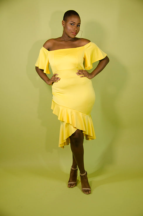 Yellow off the Shoulder Flutter Sleeve Dress