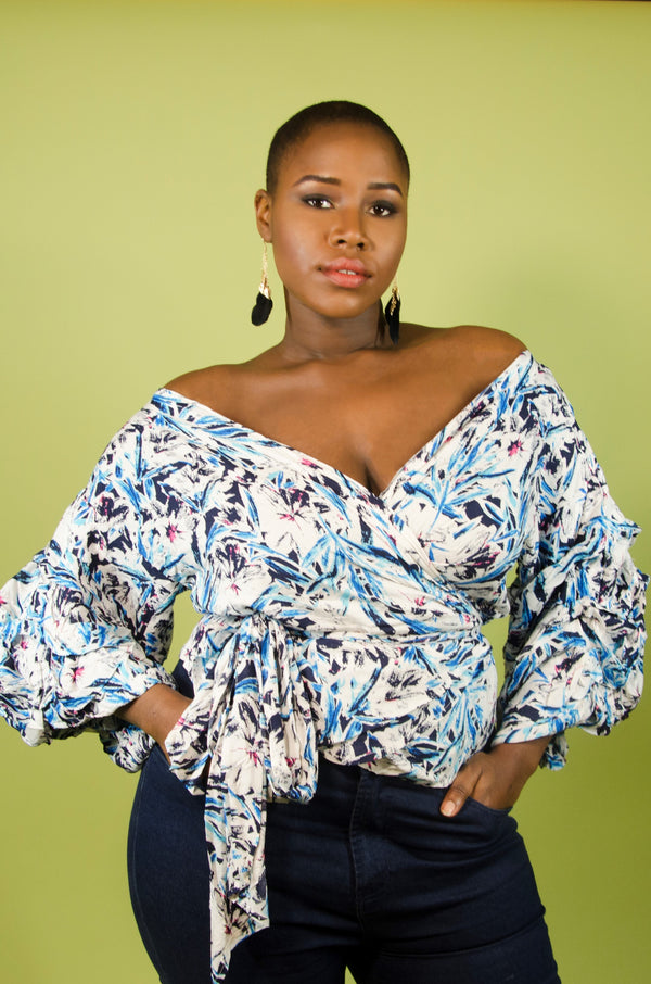 Floral Print Wrap Off the Shoulder Top