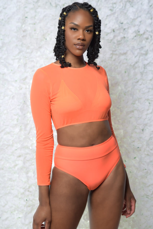 Neon Orange High Waist Bikini w Mesh Top