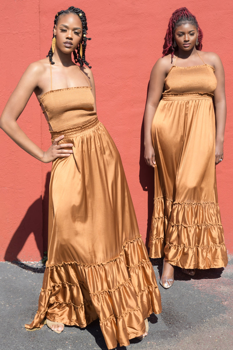 Espresso Satin Ruffle Hem Maxi Dress