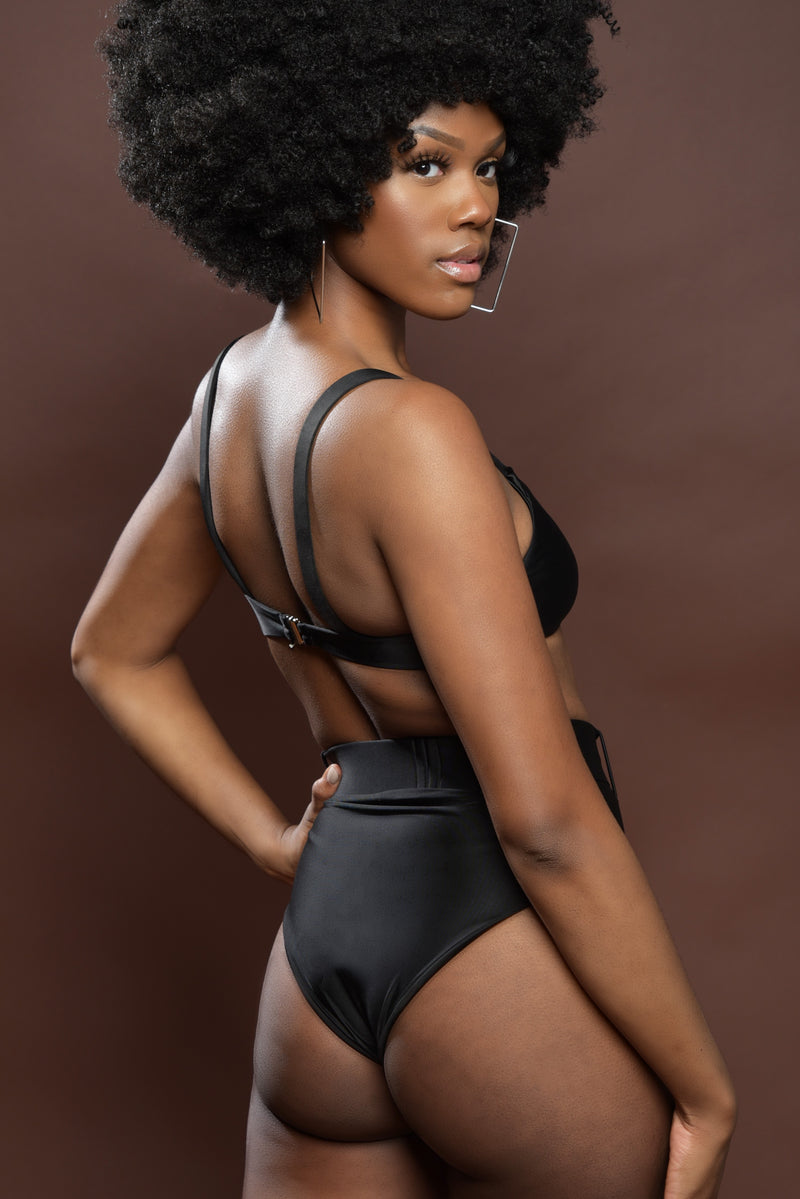 Black Two-Piece Swimsuit with Buckle Waist
