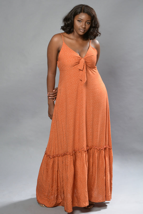 Burnt Orange Polka Dot Print Maxi Dress