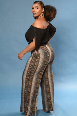 Printed Banded Wide Leg Pants