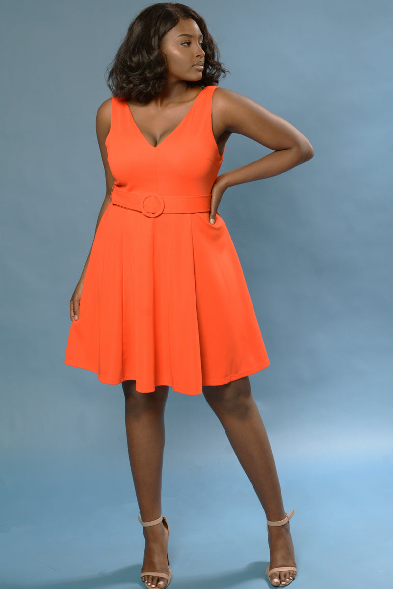 Orange Belted Fit and Flare Dress