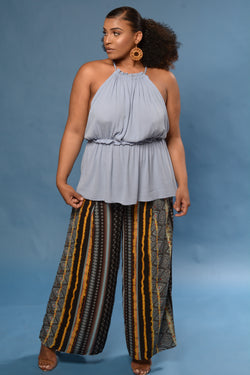 Tribal Border Print Wide Leg Pants
