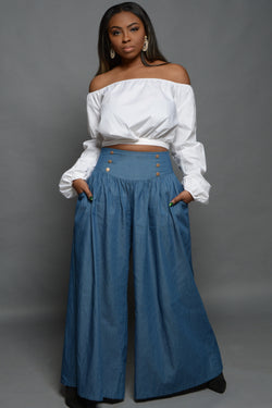 Chambray High Waisted Palazzo Pants