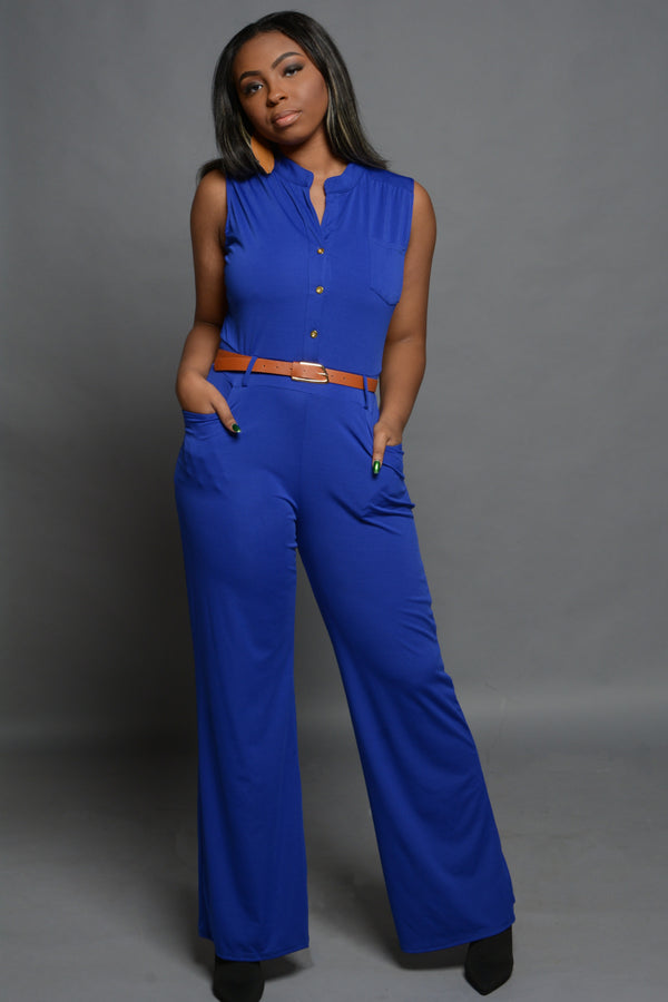 Royal Blue Belted Jumpsuit