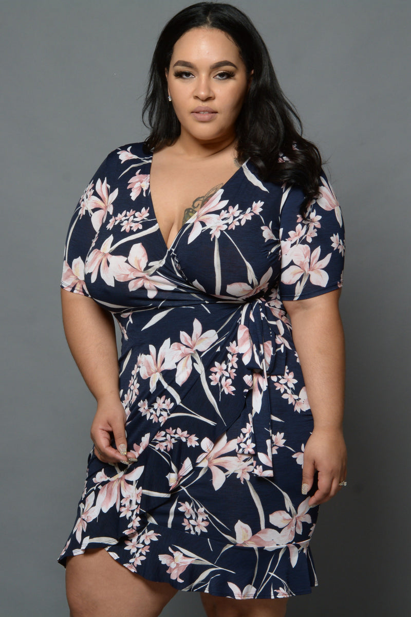 Navy Floral Surplice Wrap Dress