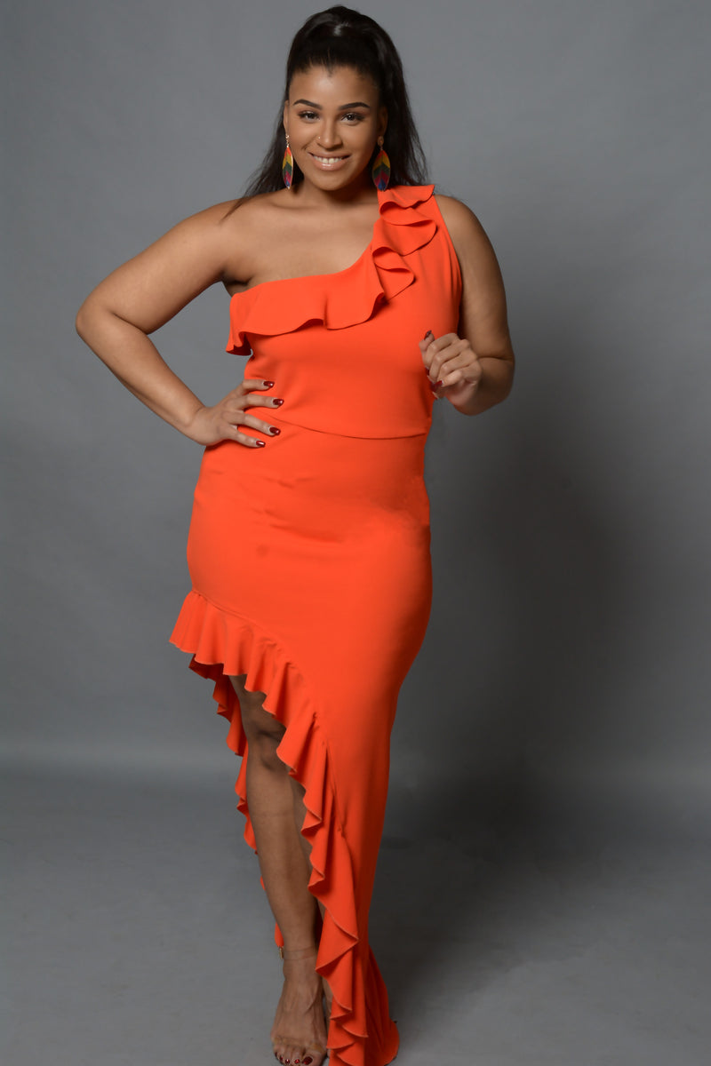 Orange Asymmetrical Hem and Ruffle Dress