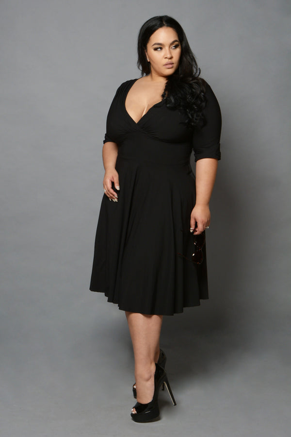 Unique Vintage Black Swing Dress