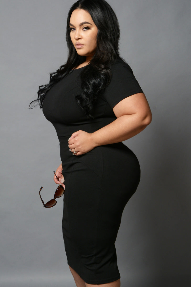 Black Retro Fitted Pencil Dress