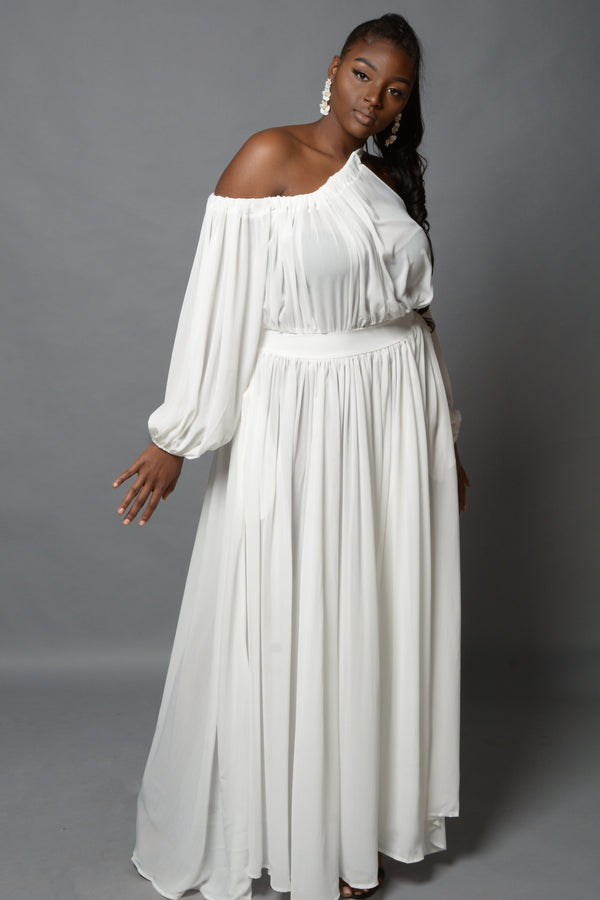 White Off the Shoulder Maxi