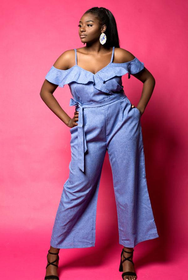 Light Blue Ruffle Shoulder Jumpsuit