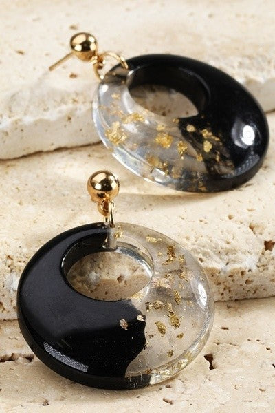 Open Circle Duo-Tone Dangle Earring
