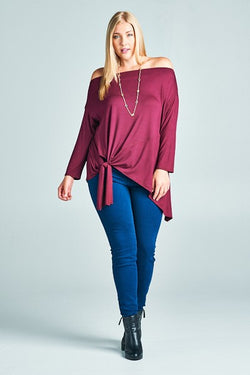 Burgundy Off The Shoulder Tunic with Tie