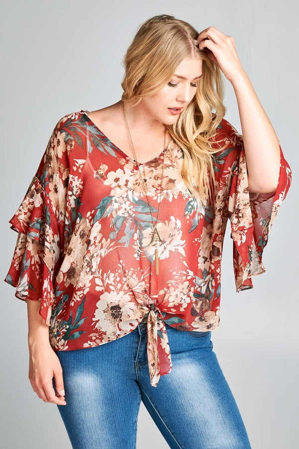 Rust Chiffon Floral Top