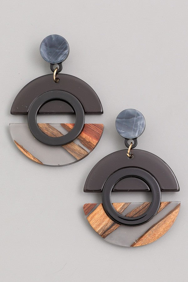 Dangle Geo Circle Earrings