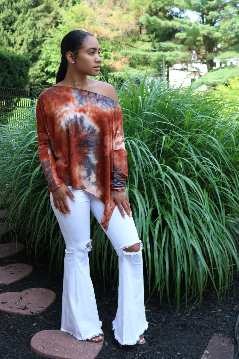 Shivanna Rust Tie Dye Tunic Top