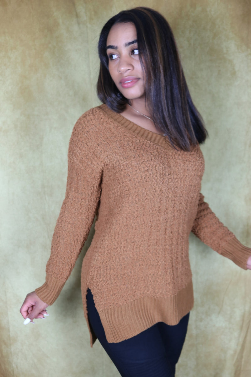 Coffee V-Neck Popcorn Cable Tunic Sweater