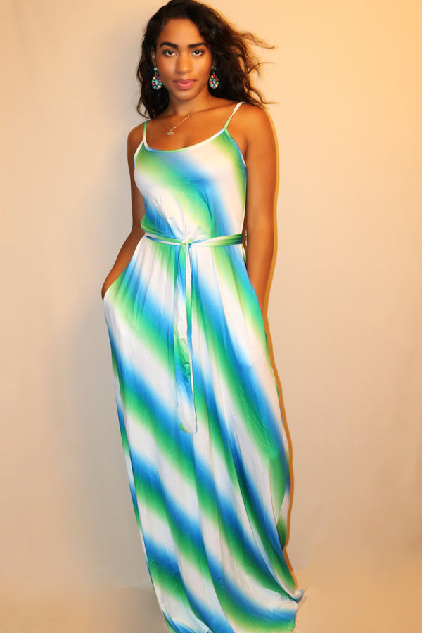 Sonya Blue Green Ombre Stripe Maxi Dress