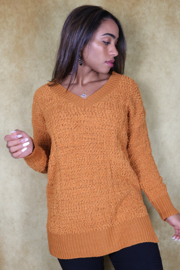 Desert Mustard V-Neck Popcorn Cable Tunic Sweater