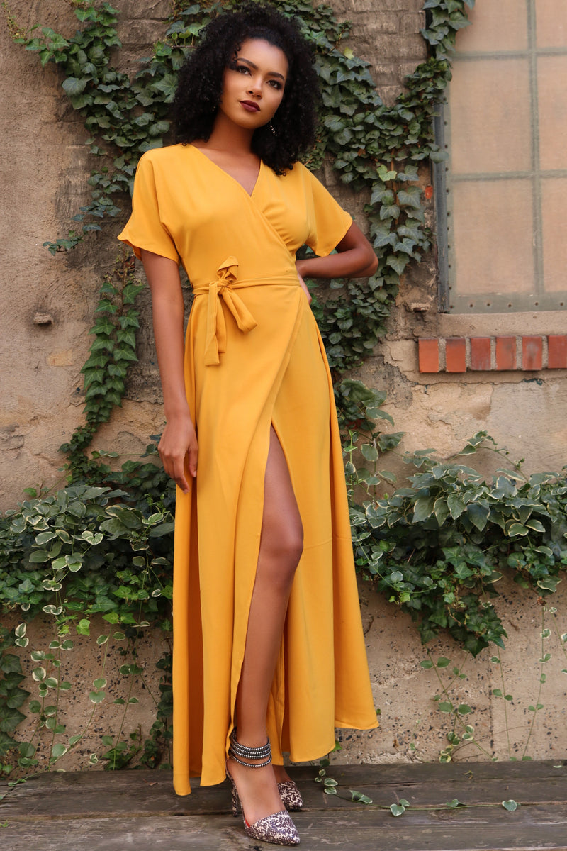 Selena Yellow Kimono Maxi Wrap Dress