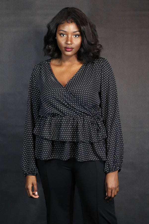 Black Pin Dot Surplice Tiered Blouse