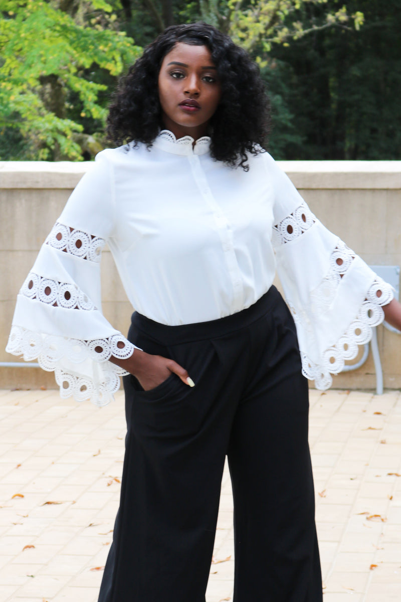 Ivory Crochet Trim Flare Sleeve Top