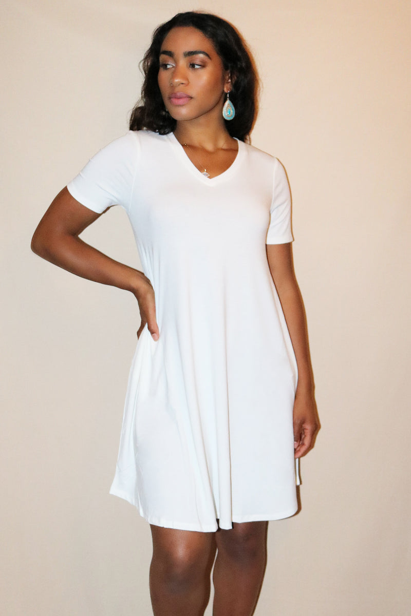 Nia Ivory V-Neck Mini T-Shirt Dress