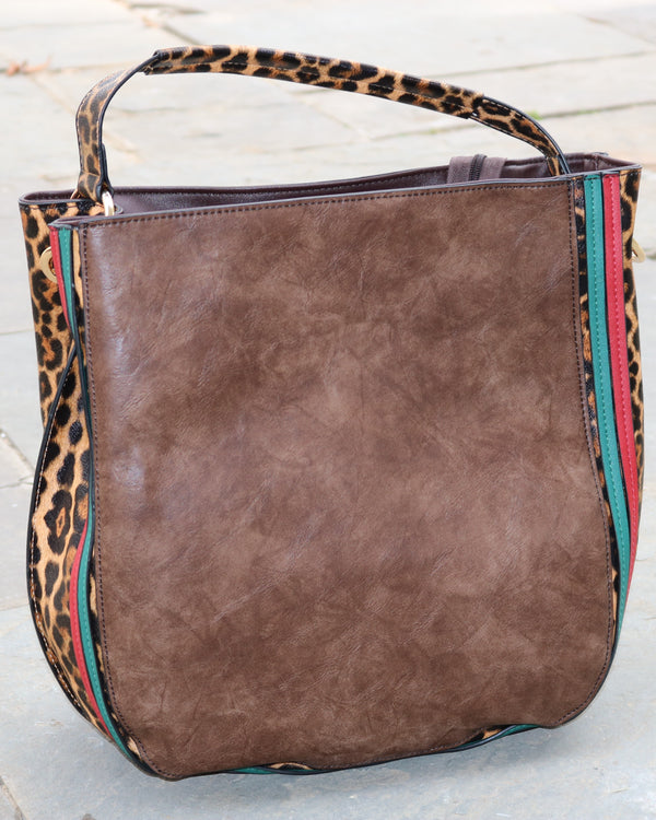 Side Leopard Print Satchel
