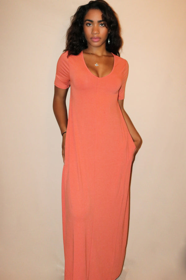 Mia Coral Loose T-Shirt Maxi Dress
