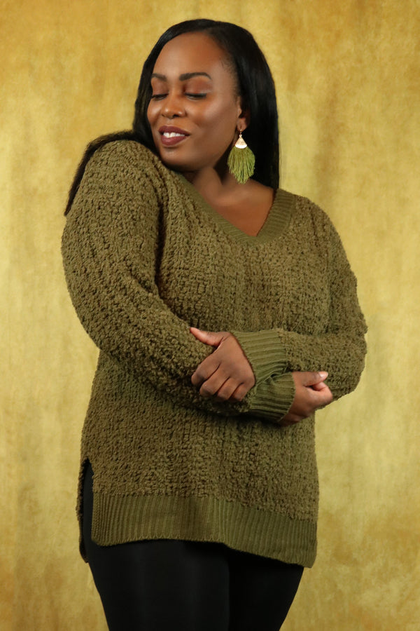 Olive V-Neck Popcorn Cable Tunic Sweater