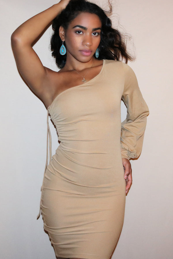 Beige One Shoulder Side Ruched Dress
