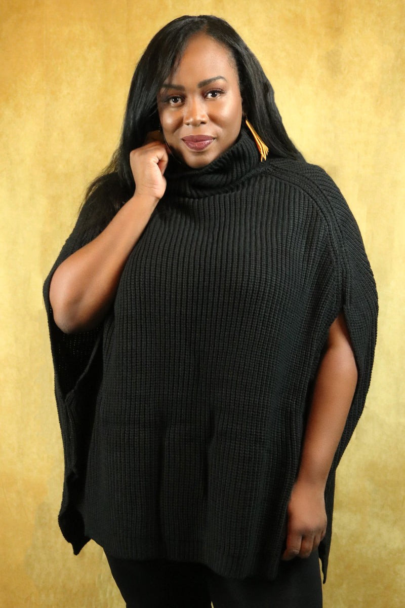 Black Turtleneck Poncho Sweater