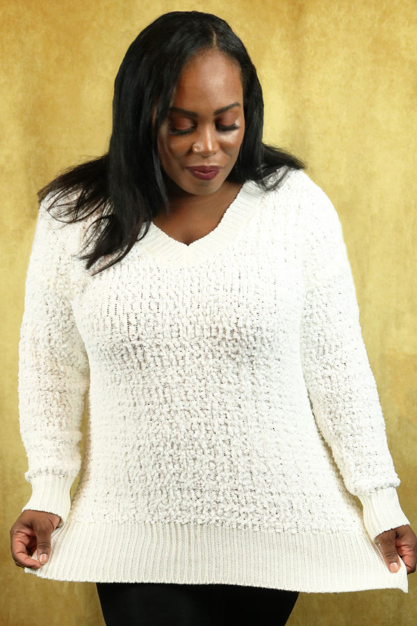 Ivory V-Neck Popcorn Cable Tunic Sweater