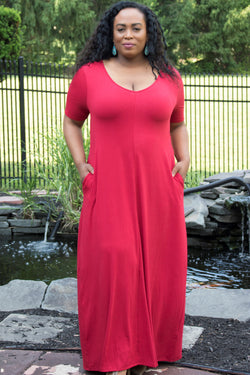 Mia Red Loose T-Shirt Maxi Dress