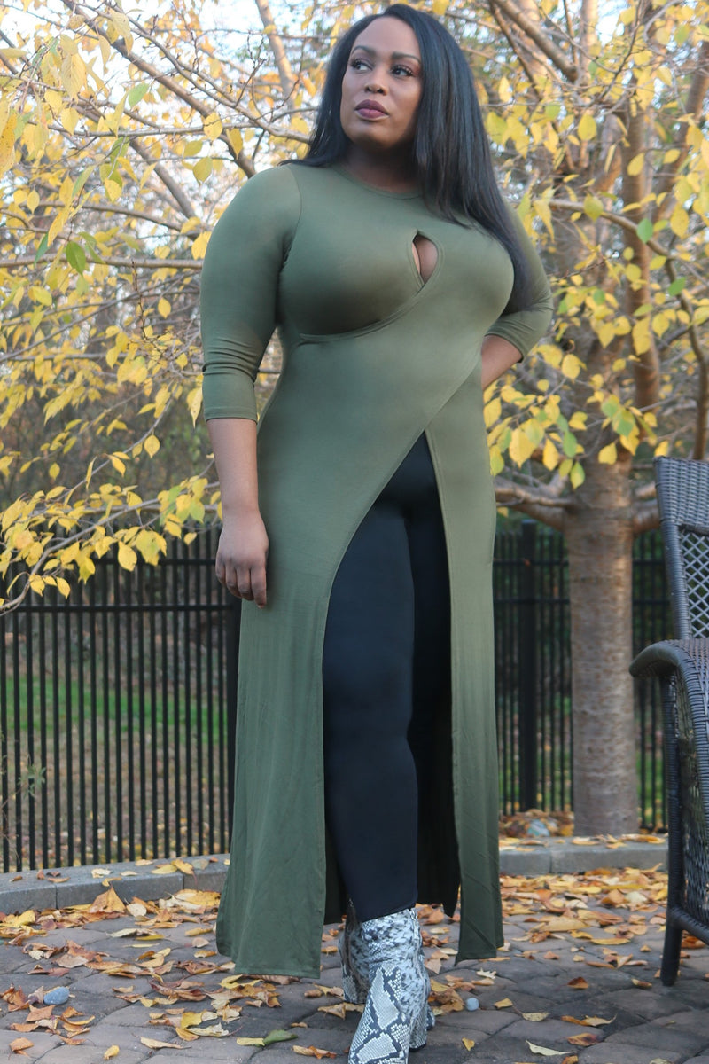 Olive Maxi Top with Front Slit