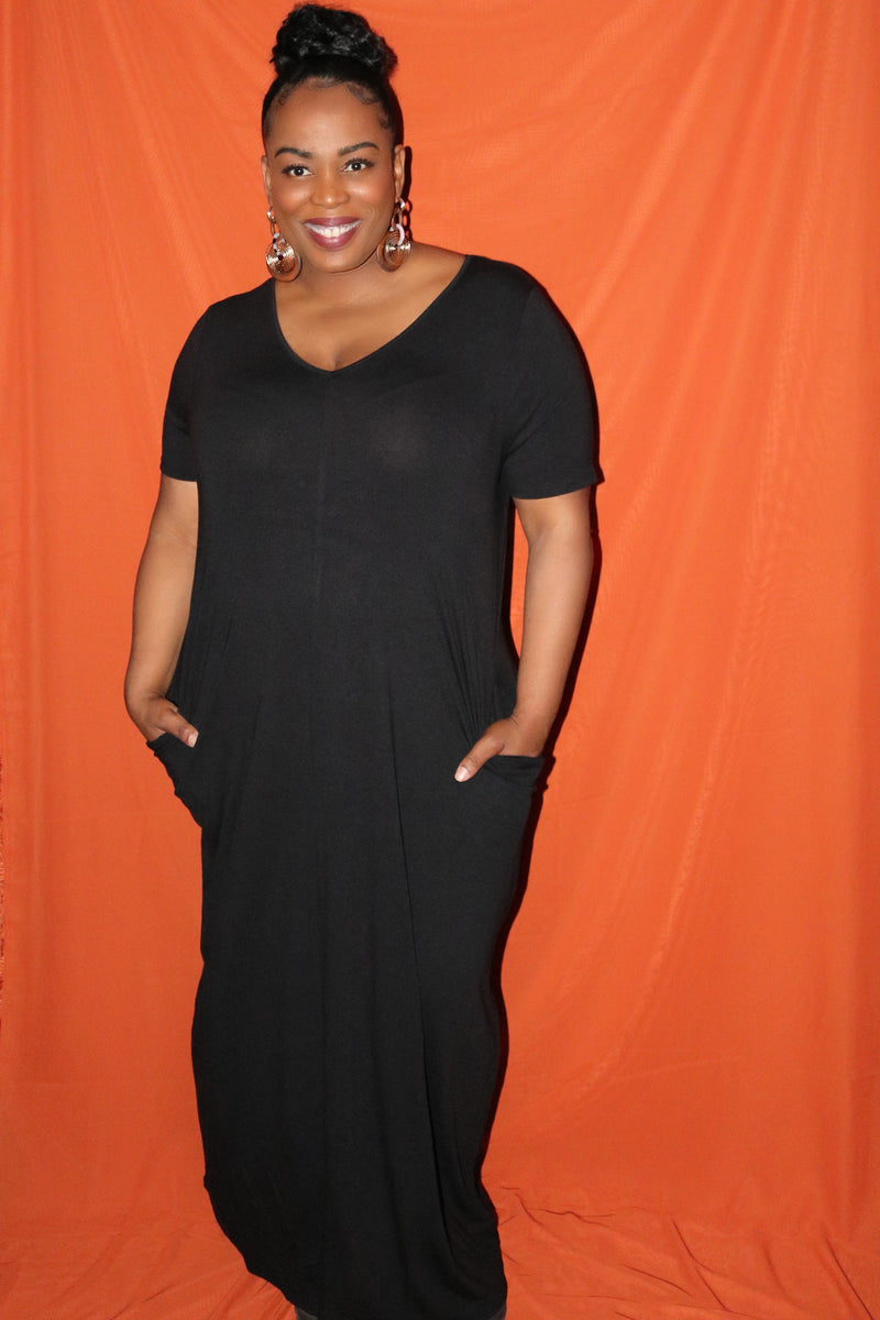 Black Loose T-Shirt Maxi Dress
