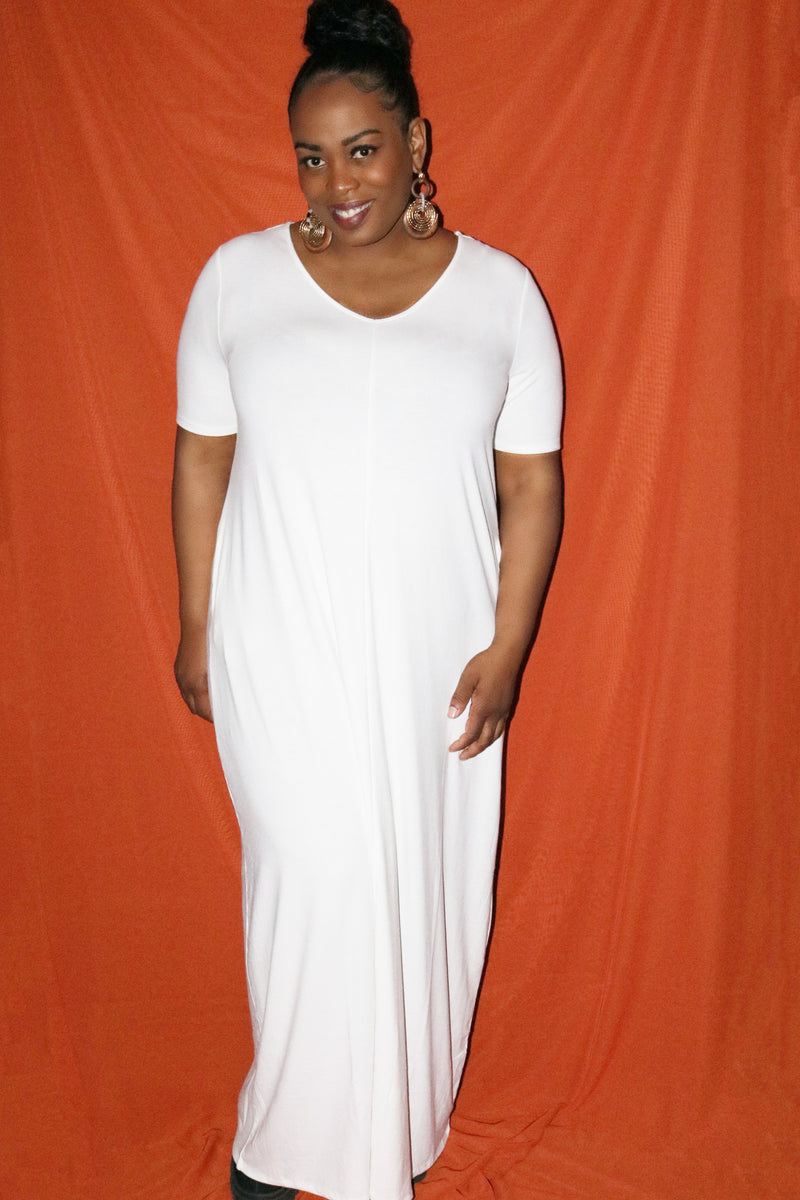 White Loose T-Shirt Maxi Dress