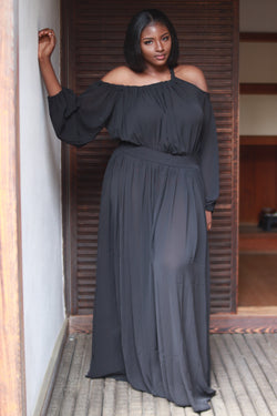 Black Off the Shoulder Maxi