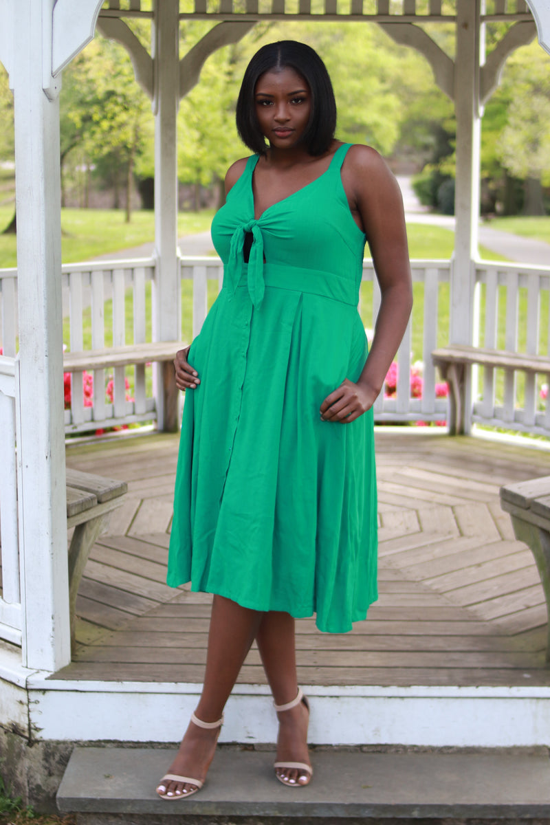 Green Bow Tie Button Through Peekaboo Dress
