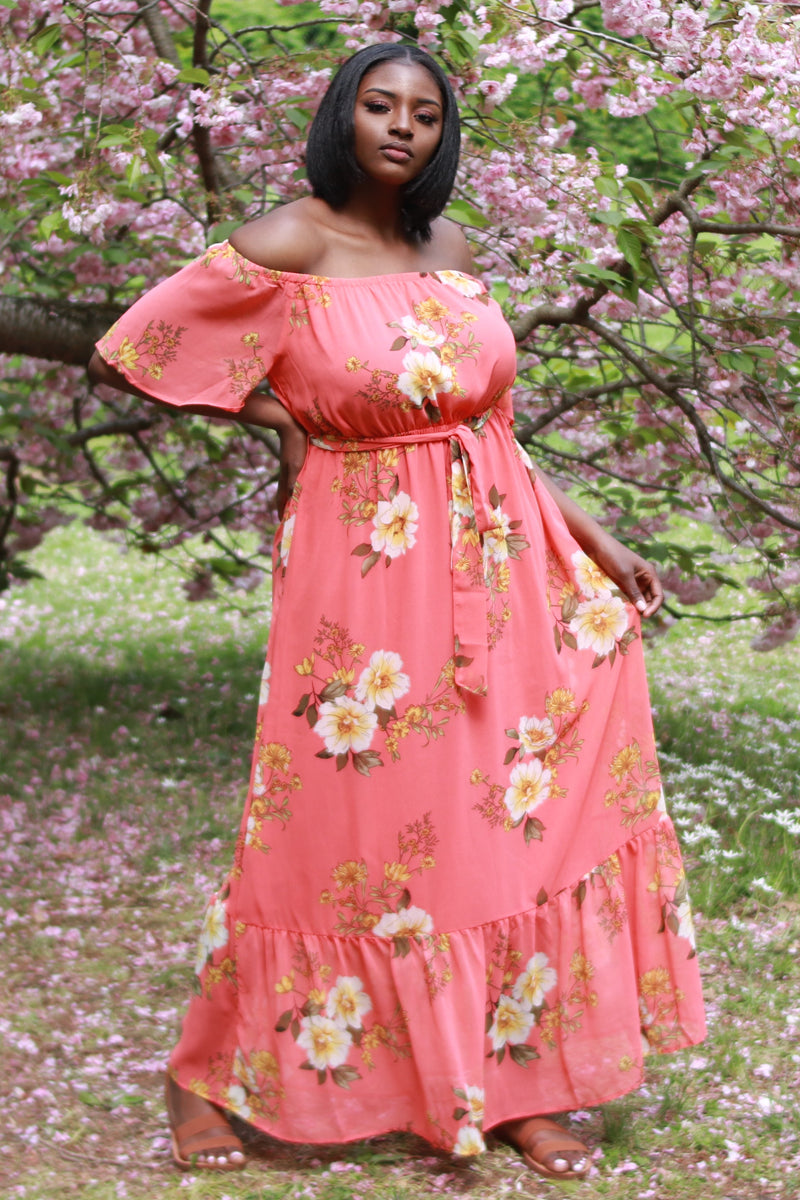Coral Floral Off the Shoulder Maxi Dress