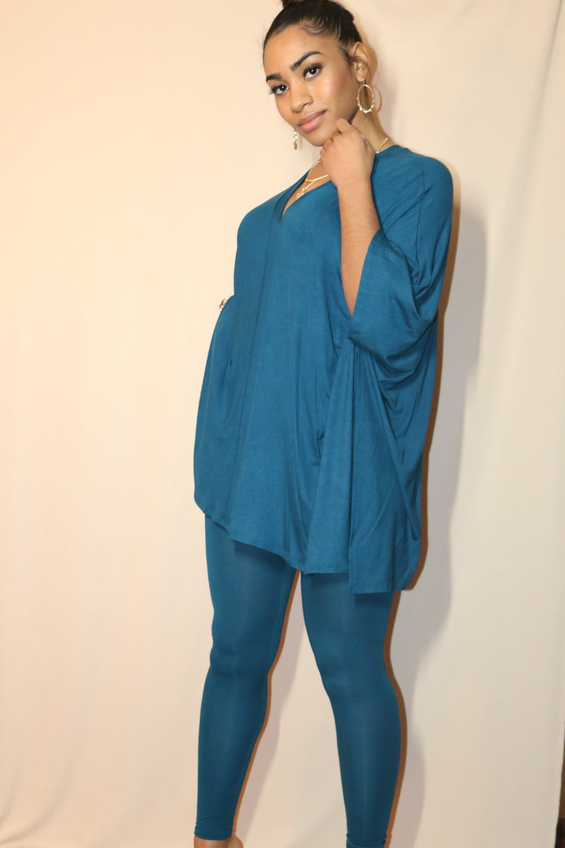 Teal Over-sized Tunic Top & Leggings Two Piece Set