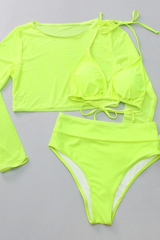 Neon Green High Waist Bikini w Mesh Top