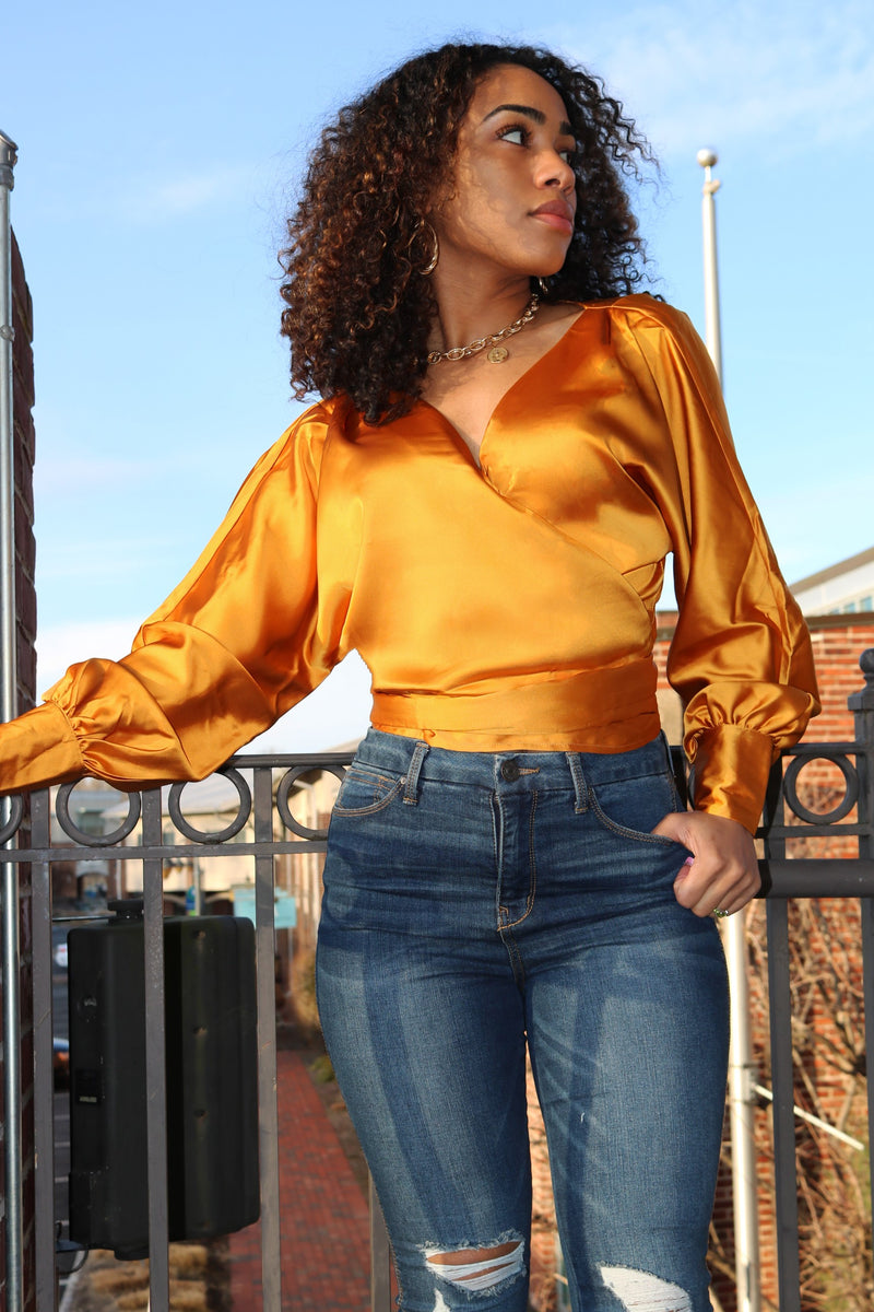 Sophia Honey Satin Wrap Top