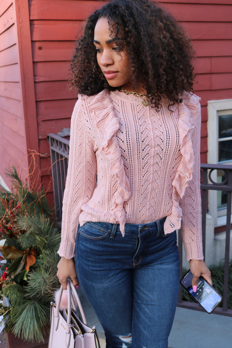 Blush Ruffle Bodice Top