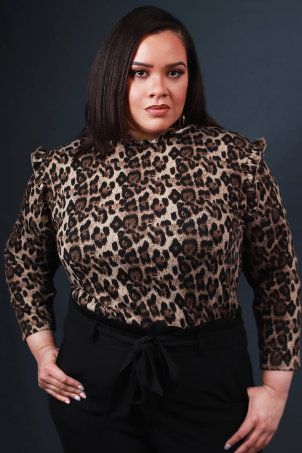 Leopard Ruffle Collar Knit Top